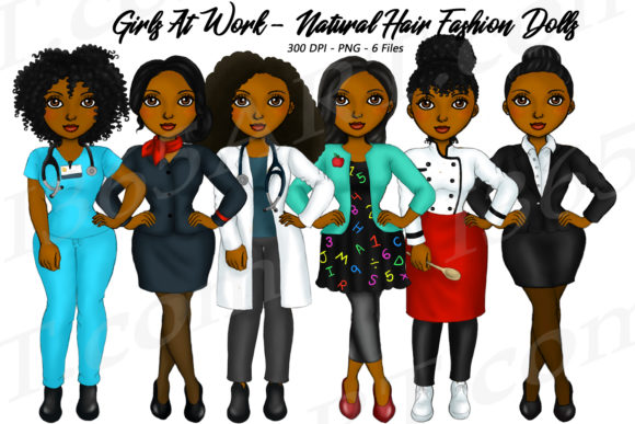 Girls at Work Natural Hair Clipart Graphic Illustrations By Deanna McRae