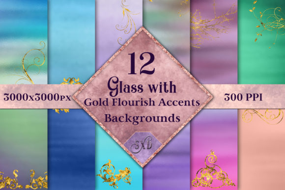 Print on Demand: Glass with Gold Accents Backgrounds Graphic Backgrounds By SapphireXDesigns