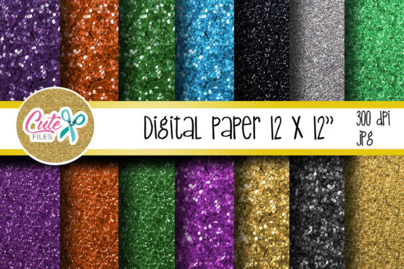 Glitter Halloween Digital Paper Graphic Textures By Cute files - Image 1
