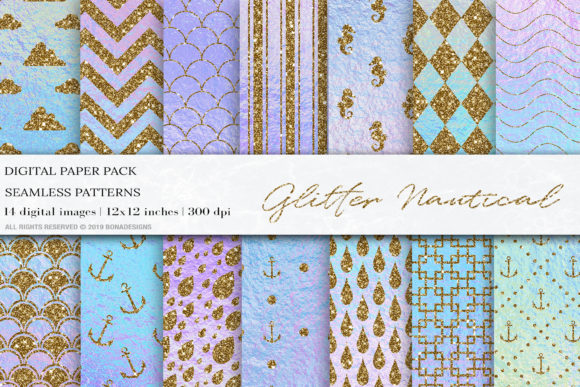 Glitter Iridescent Digital Papers Graphic Patterns By BonaDesigns