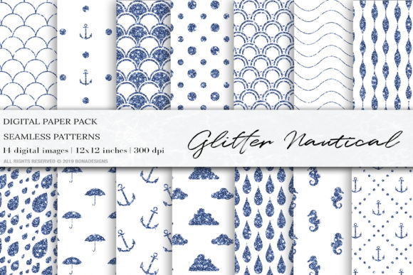 Download Free Glitter Nautical Mermaid Digital Papers Graphic By Bonadesigns for Cricut Explore, Silhouette and other cutting machines.