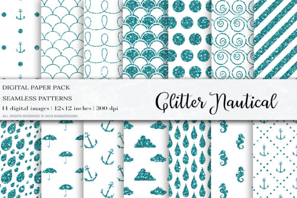 Download Free Glitter Nautical Seamless Patterns Graphic By Bonadesigns for Cricut Explore, Silhouette and other cutting machines.