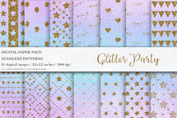 Download Free Glitter Party Digital Papers Patterns Graphic By Bonadesigns for Cricut Explore, Silhouette and other cutting machines.