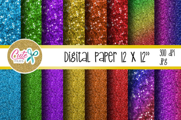 Glitter Raimbow Digital Paper Graphic Textures By Cute files