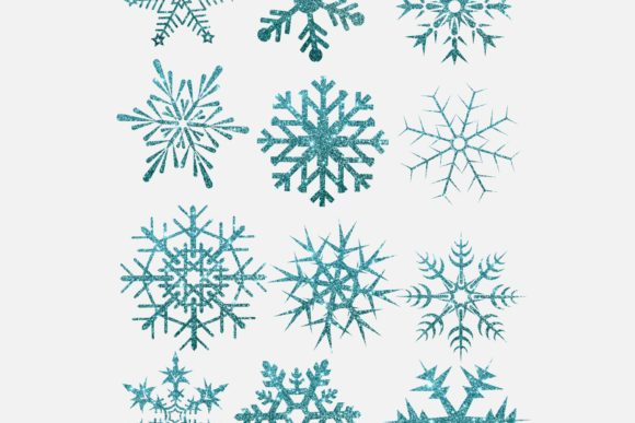 Print on Demand: Glitter Snow Flakes in Turquoise Colour Graphic Illustrations By DigitalPencilMagic