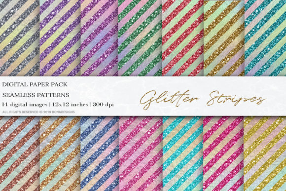 Glitter Stripes Iridescent Digital Paper Graphic Patterns By BonaDesigns