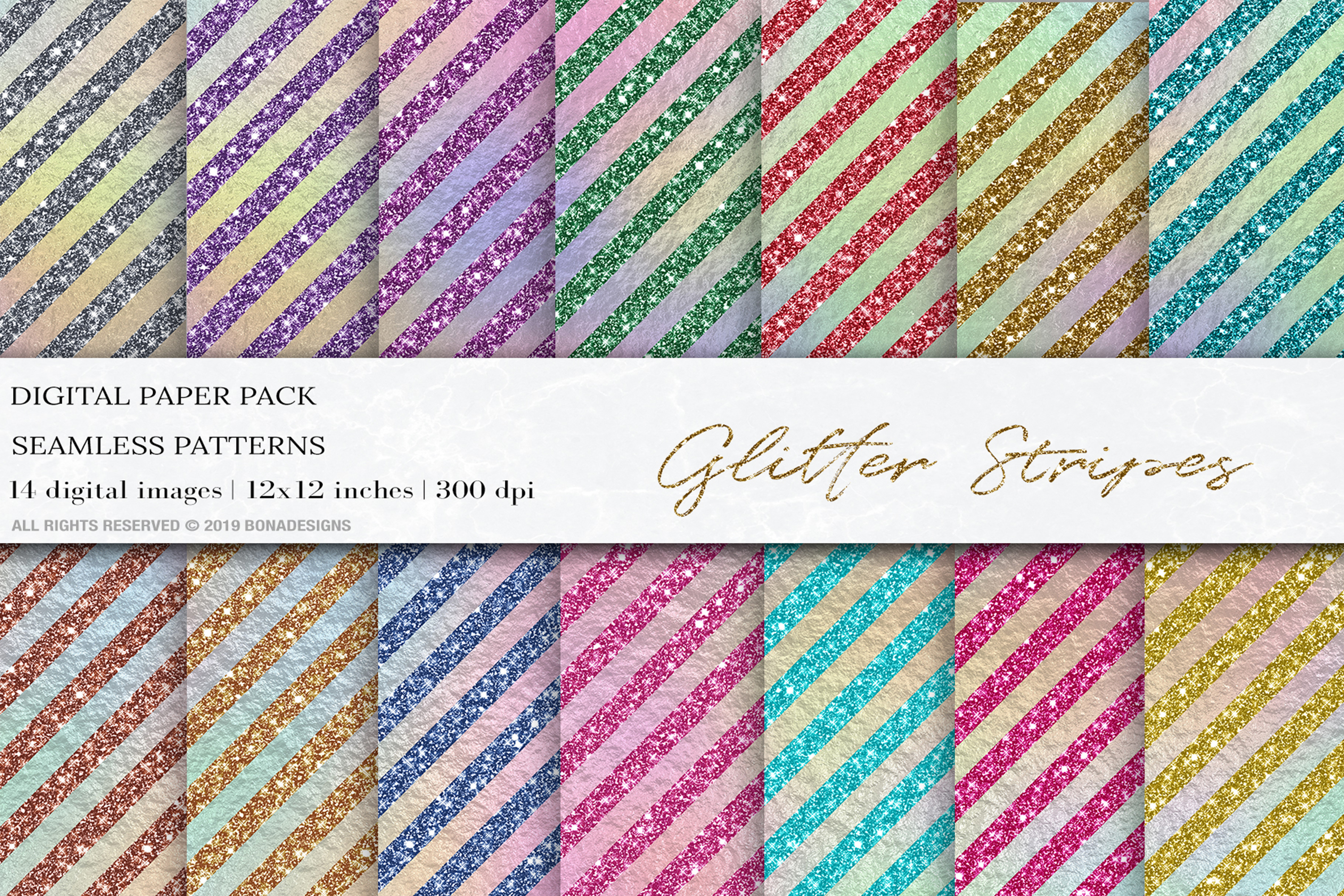 Download Free Glitter Stripes Iridescent Digital Paper Graphic By Bonadesigns for Cricut Explore, Silhouette and other cutting machines.