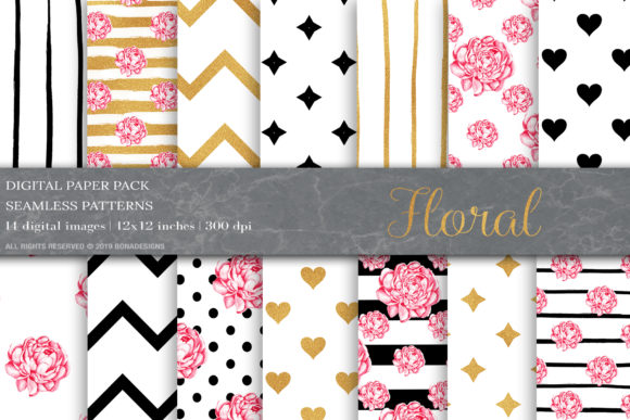 Gold Black Floral Digital Papers Graphic Patterns By BonaDesigns