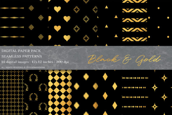 Download Free Gold Black Geometric Digital Papers Graphic By Bonadesigns for Cricut Explore, Silhouette and other cutting machines.