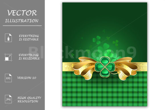Gold Bow with Clover Graphic Illustrations By Blackmoon9