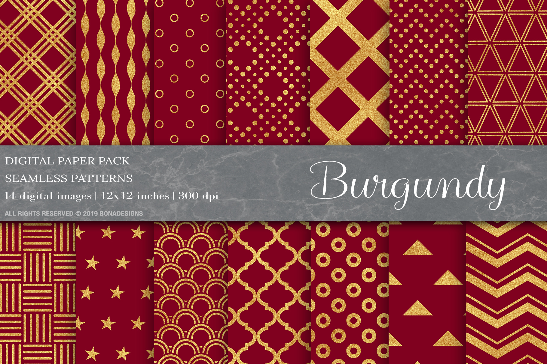Download Free Gold Burgundy Digital Papers Patterns Graphic By Bonadesigns for Cricut Explore, Silhouette and other cutting machines.
