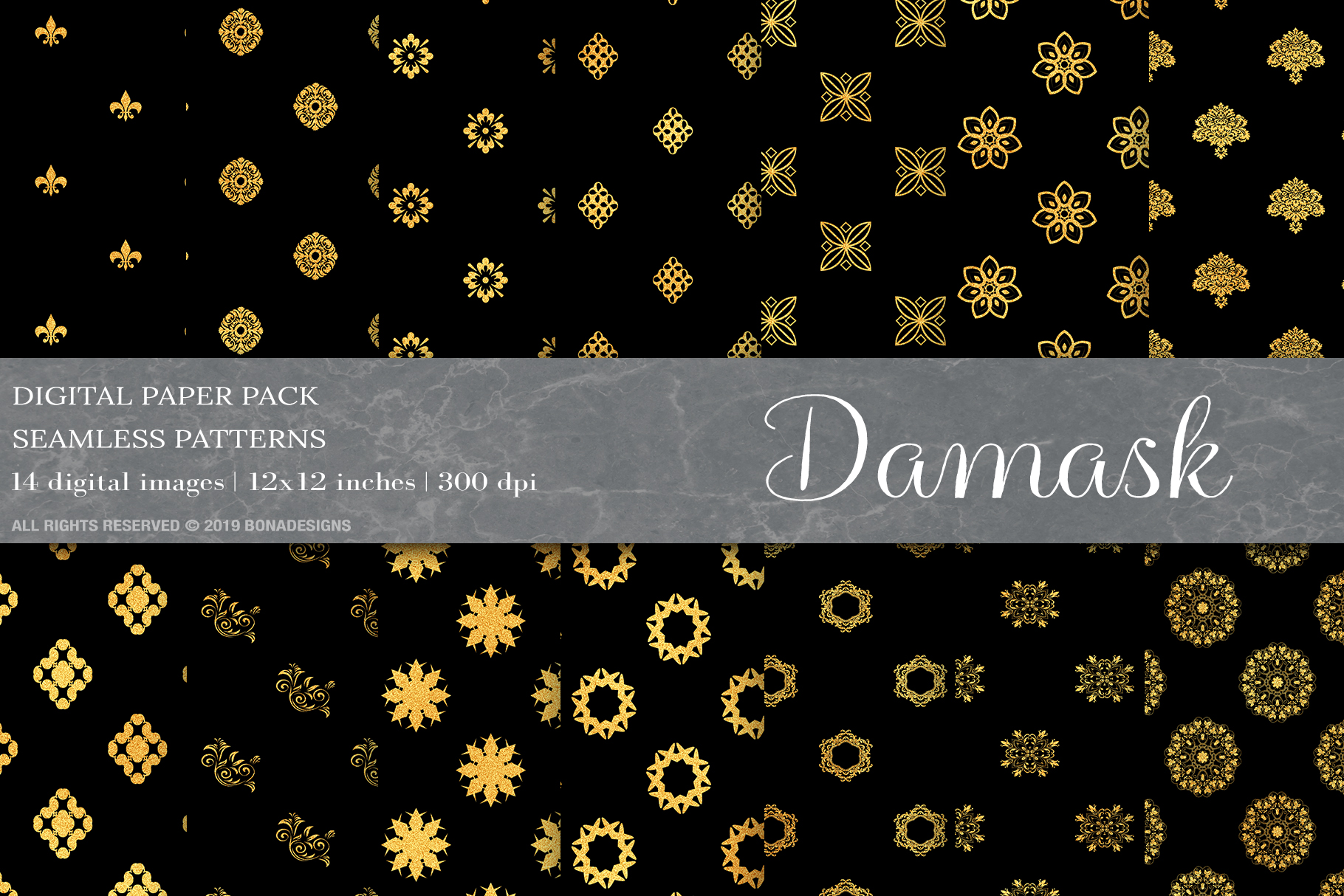 Download Free Gold Damask Digital Paper Damask Pattern Graphic By Bonadesigns SVG Cut Files