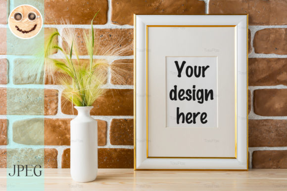 Print on Demand: Gold Decorated Frame Mockup Graphic Product Mockups By TasiPas