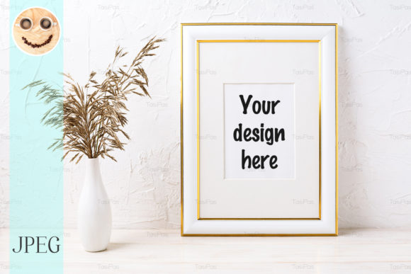 Print on Demand: Gold Decorated Frame Mockup with Dried Graphic Product Mockups By TasiPas