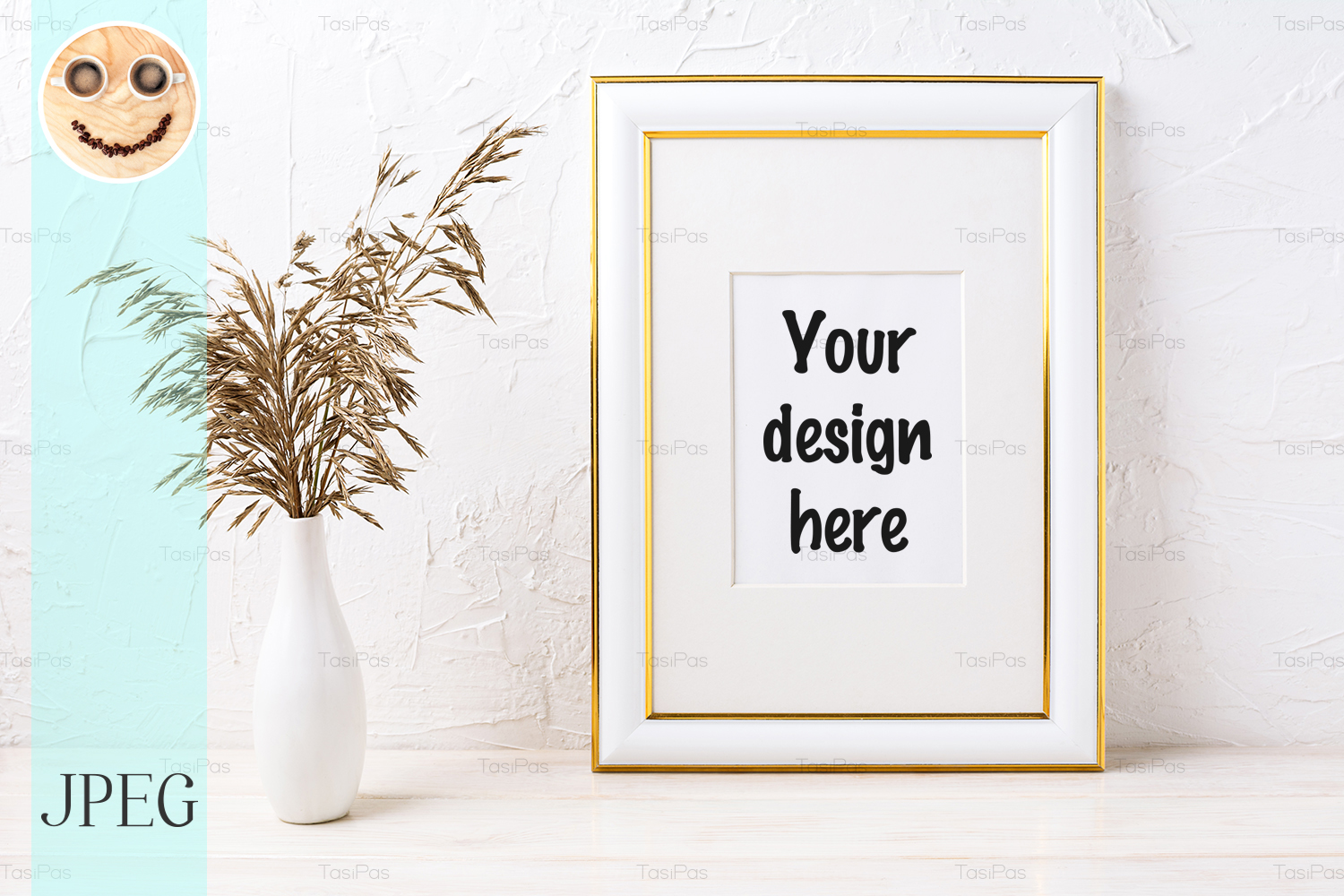 Download Free Gold Decorated Frame Mockup With Dried Graphic By Tasipas for Cricut Explore, Silhouette and other cutting machines.