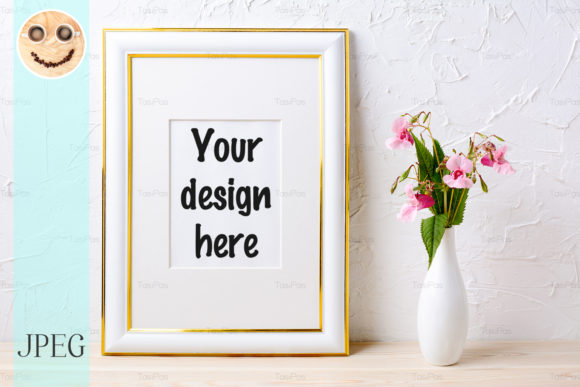 Print on Demand: Gold Decorated Frame Mockup with Flower Graphic Product Mockups By TasiPas