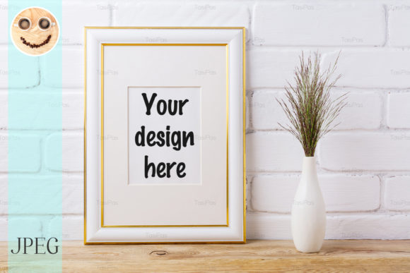 Print on Demand: Gold Decorated Frame Mockup with Grass Graphic Product Mockups By TasiPas
