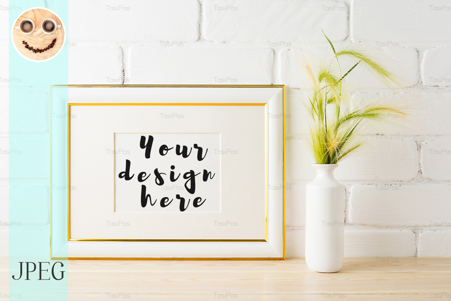 Download Free Gold Decorated Landscape Frame Mockup Graphic By Tasipas for Cricut Explore, Silhouette and other cutting machines.