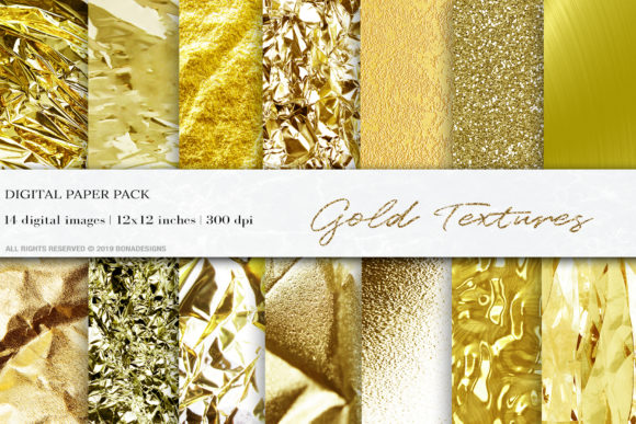 Download Free Gold Foil Digital Paper Gold Textures Graphic By Bonadesigns for Cricut Explore, Silhouette and other cutting machines.