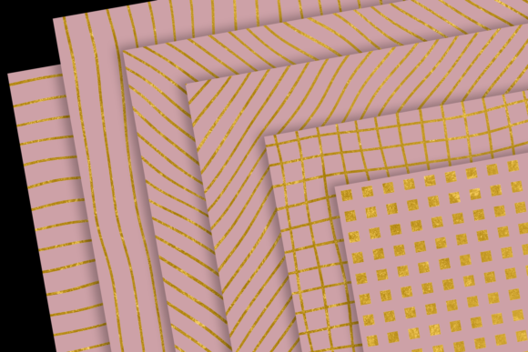 Print on Demand: Gold Patterns on Blush Graphic Patterns By JulieCampbellDesigns - Image 2