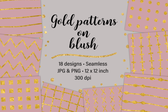 Print on Demand: Gold Patterns on Blush Graphic Patterns By JulieCampbellDesigns