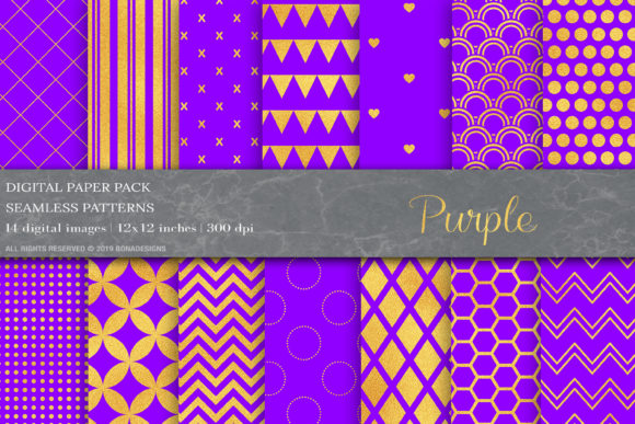 Download Free Gold Purple Digital Paper Patterns Graphic By Bonadesigns SVG Cut Files