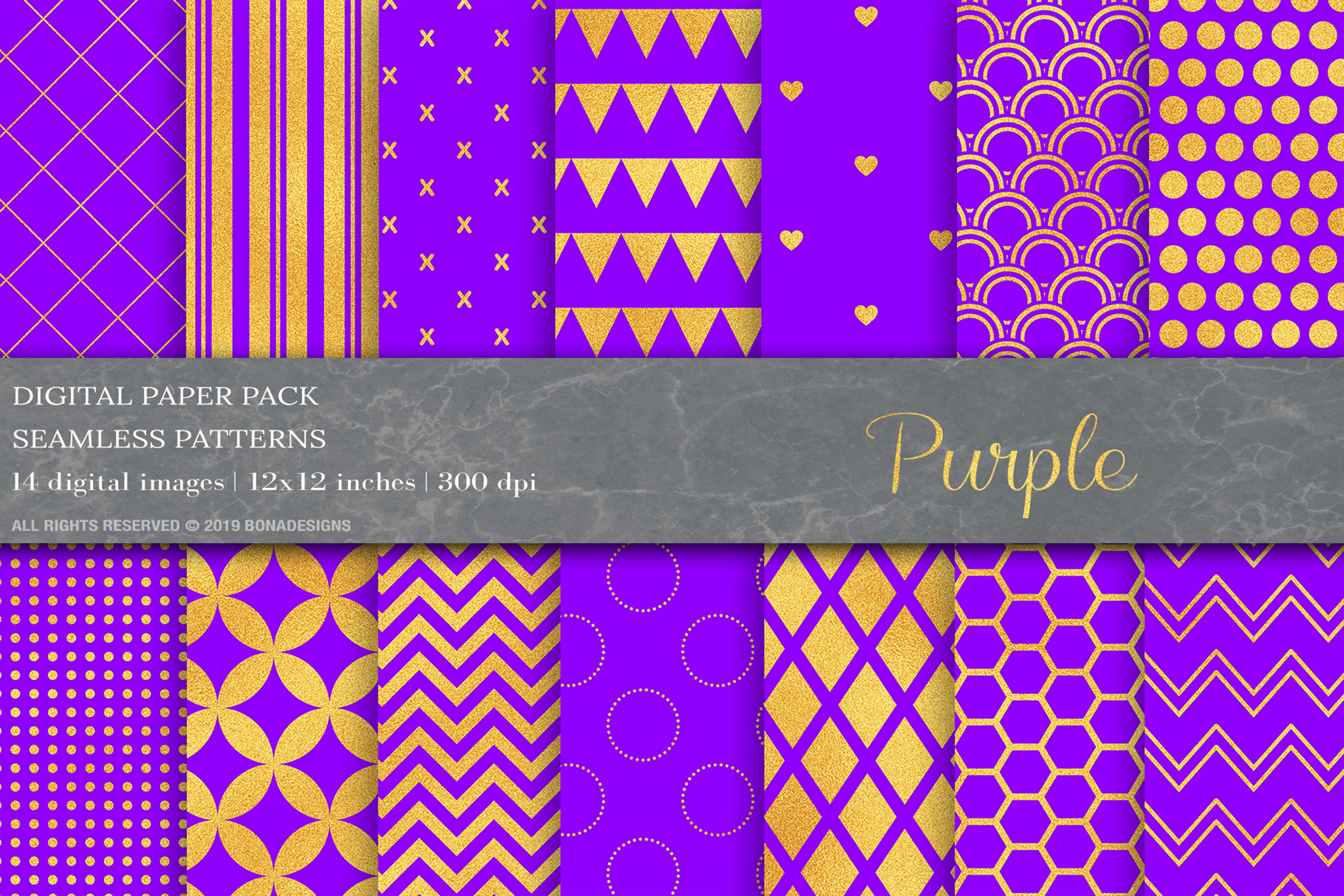 Download Free Gold Purple Digital Paper Patterns Graphic By Bonadesigns for Cricut Explore, Silhouette and other cutting machines.