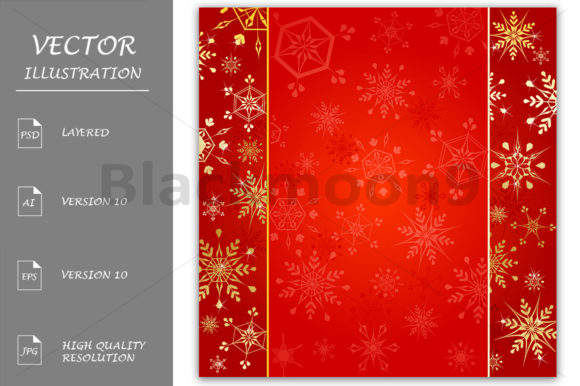 Gold Snowflakes on Red Background Graphic Backgrounds By Blackmoon9