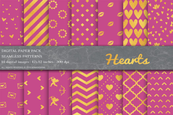 Gold Valentines Day Digital Papers Graphic Patterns By BonaDesigns