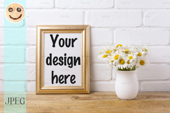 Print on Demand: Golden  Frame Mockup with Chamomile Graphic Product Mockups By TasiPas