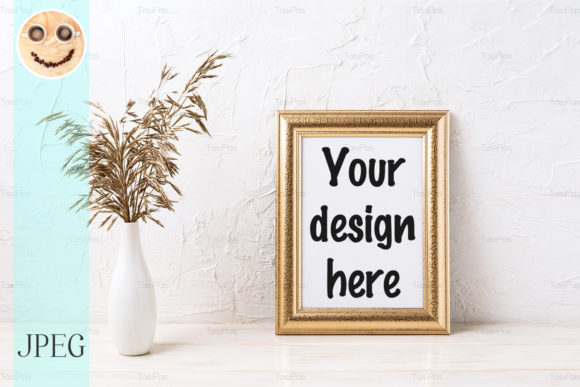 Print on Demand: Golden  Frame Mockup with Dried Grass Graphic Product Mockups By TasiPas