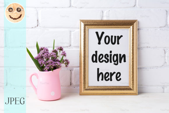 Print on Demand: Golden  Frame Mockup with Purple Flowers Graphic Product Mockups By TasiPas