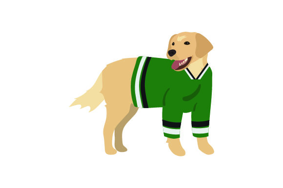 Golden Retriever in Hockey Jersey Dogs Craft Cut File By Creative Fabrica Crafts - Image 1