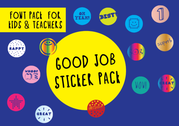 Print on Demand: Good Job Sticker Pack Dingbats Font By GraphicsBam Fonts