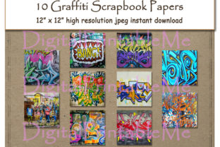 Download Free Graffiti Digital Paper Print 12 Graphic By Digitalprintableme for Cricut Explore, Silhouette and other cutting machines.