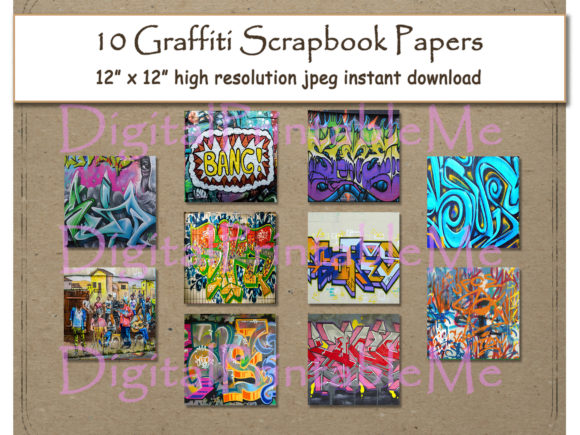 Print on Demand: Graffiti Digital Paper Print 12 Graphic Crafts By DigitalPrintableMe