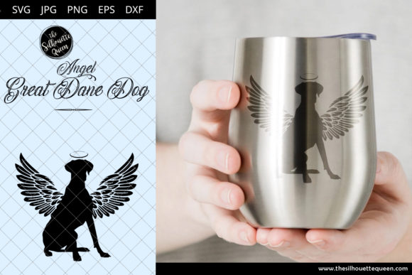 Download Free Great Dane Dog 3 With Wings Graphic By Thesilhouettequeenshop for Cricut Explore, Silhouette and other cutting machines.