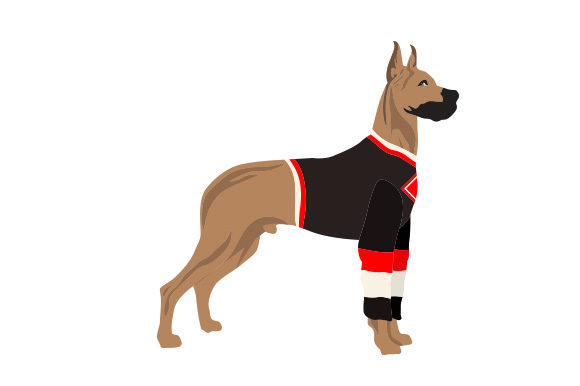Great Dane in Hockey Jersey Dogs Craft Cut File By Creative Fabrica Crafts - Image 1