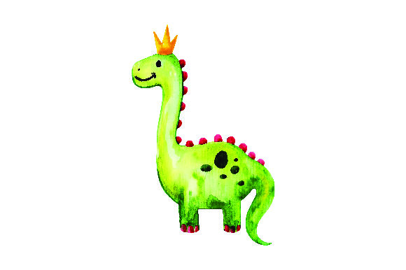 Green Dinosaur with Crown in Watercolor Style Animals Craft Cut File By Creative Fabrica Crafts - Image 1