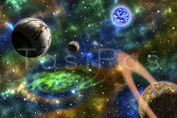 Print on Demand: Green Galaxy Background with Planets Graphic Illustrations By TasiPas