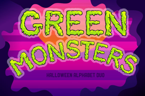 Print on Demand: Green Monsters Halloween Alphabet Duo Graphic Objects By tatiana.cociorva