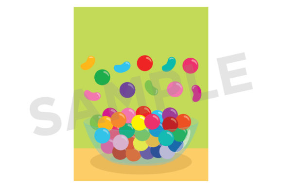 Gumballs & Jelly Beans Candy Bowl Graphic Image
