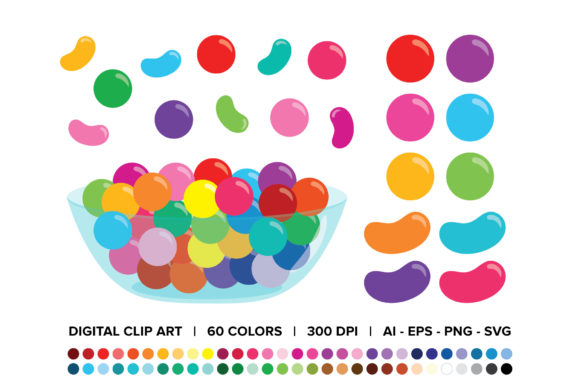 Print on Demand: Gumballs & Jelly Beans Candy Bowl Grafik Objekte von Running With Foxes