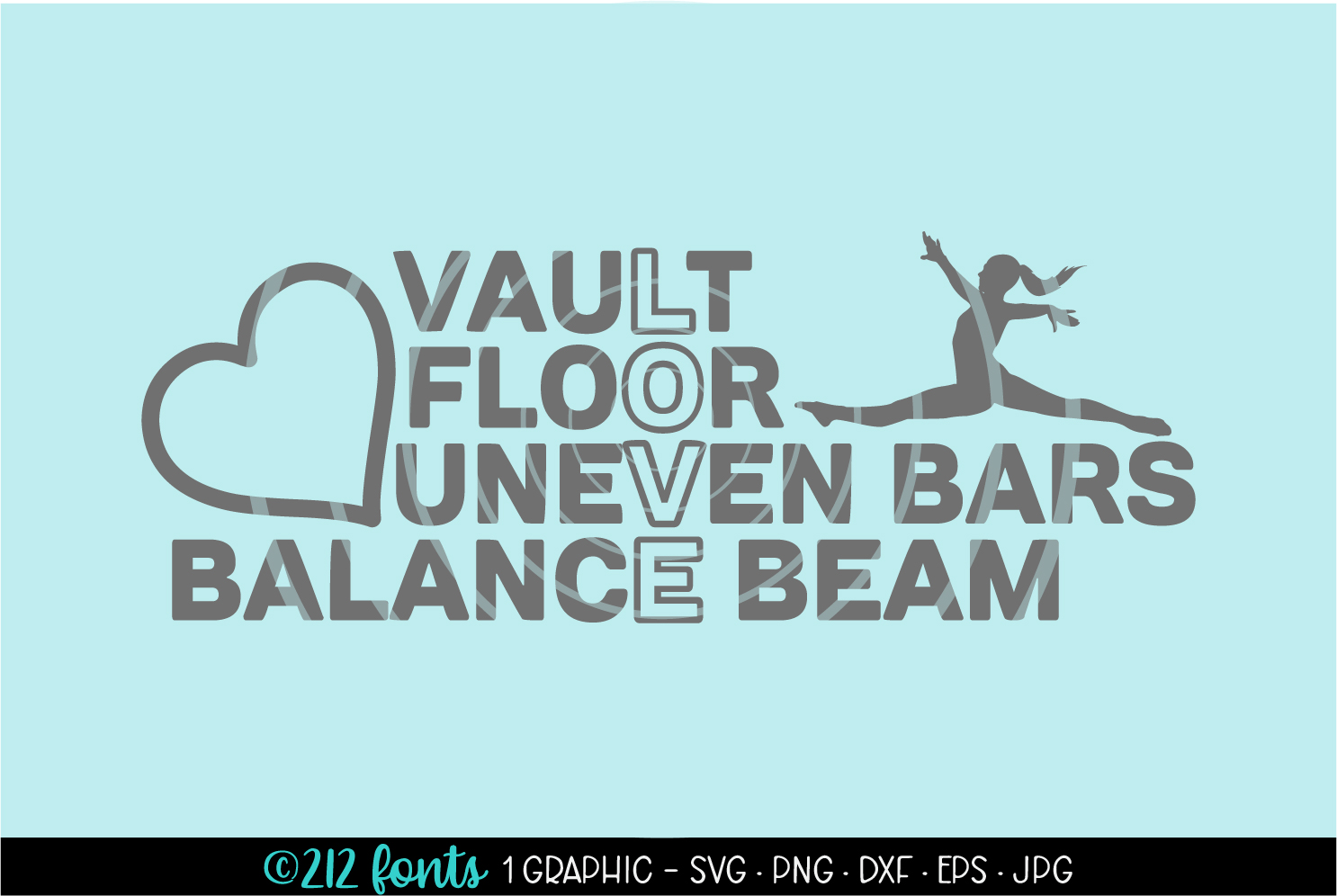 Download Free Gymnastics Love Heart Gymnast Graphic Graphic By 212 Fonts for Cricut Explore, Silhouette and other cutting machines.