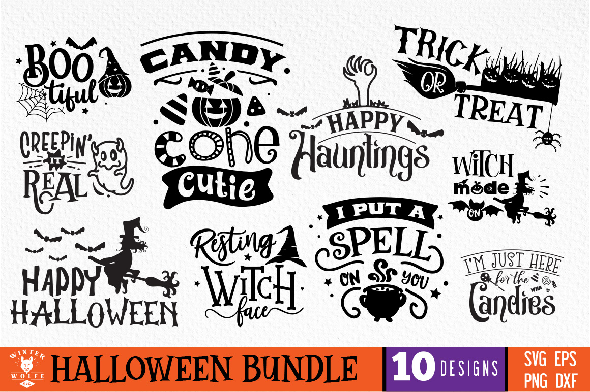 Download Free Halloween Bundle 10 Designs Graphic By Winterwolfesvg Creative for Cricut Explore, Silhouette and other cutting machines.
