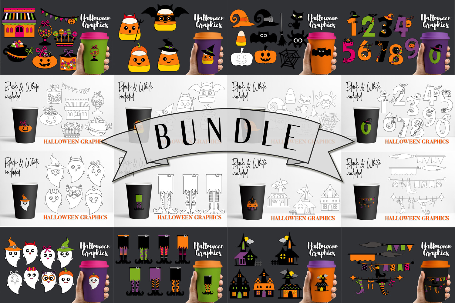 Download Free Halloween Bundle Graphic By Darrakadisha Creative Fabrica for Cricut Explore, Silhouette and other cutting machines.