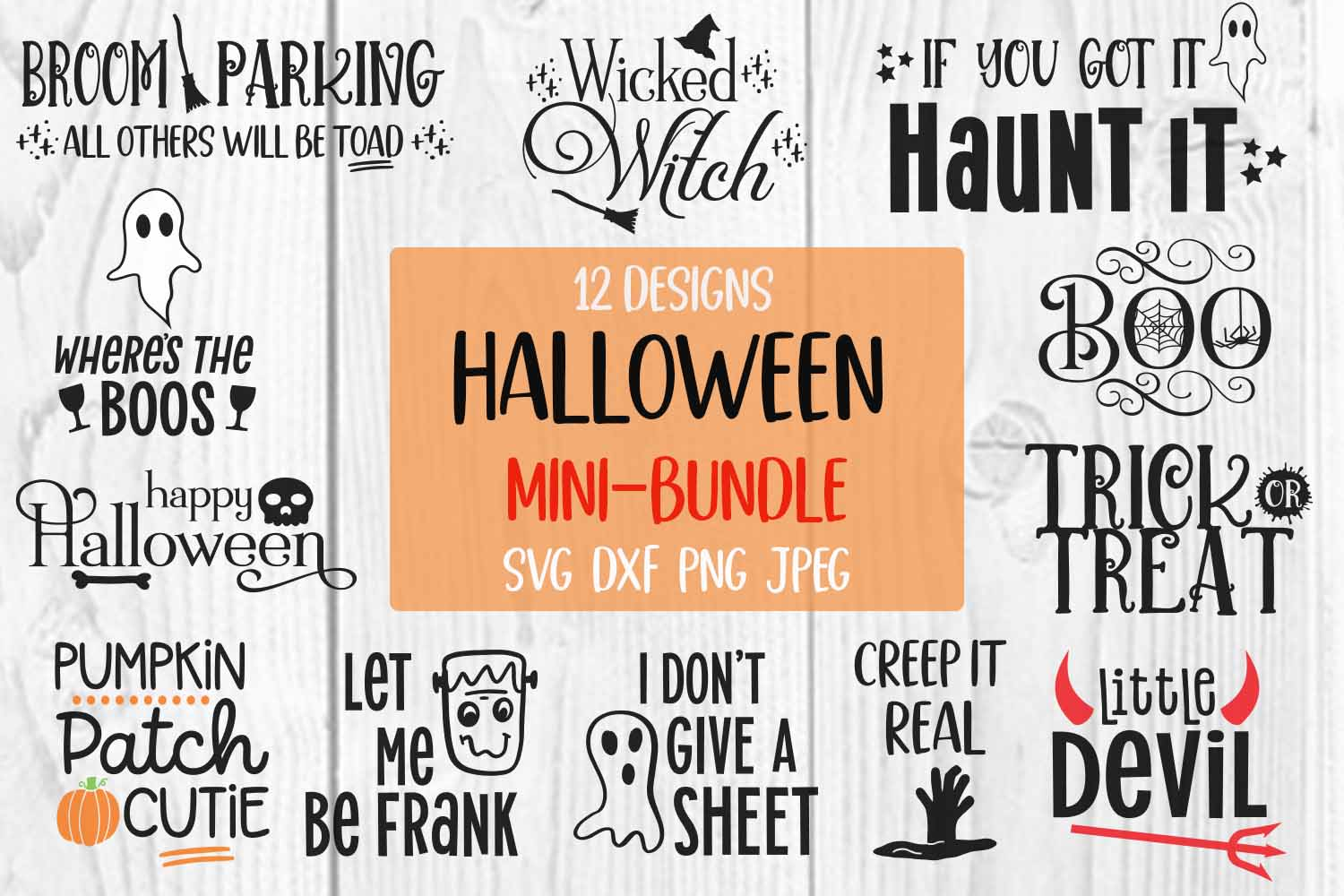 Download Free Halloween Bundle Graphic By Jessica Maike Creative Fabrica for Cricut Explore, Silhouette and other cutting machines.