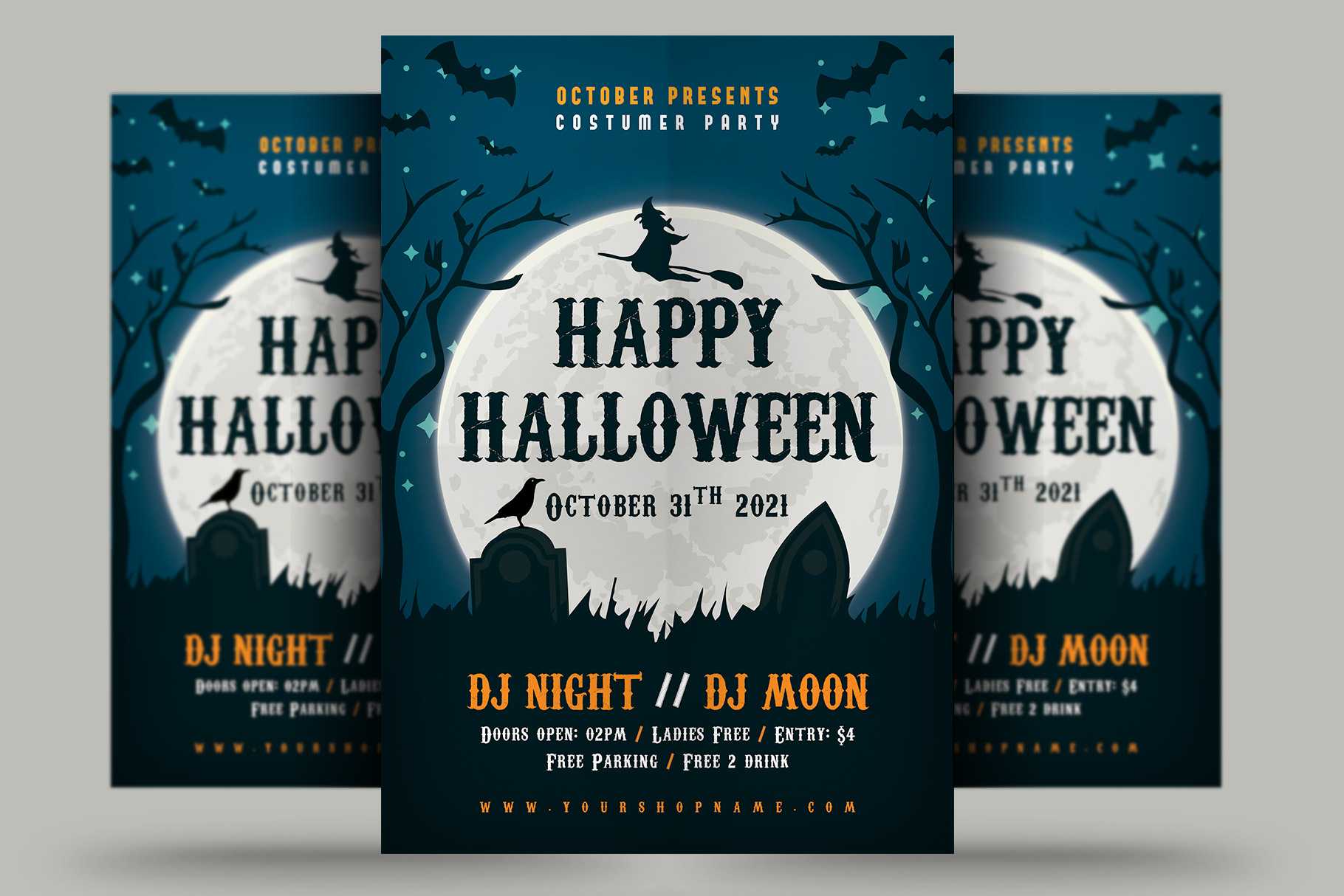 Download Free Halloween Flyer Graphic By Rafozfarzo Creative Fabrica for Cricut Explore, Silhouette and other cutting machines.