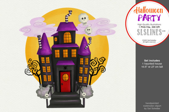 Print on Demand: Halloween: Haunted House Moonlight PNG Graphic Illustrations By SLS Lines