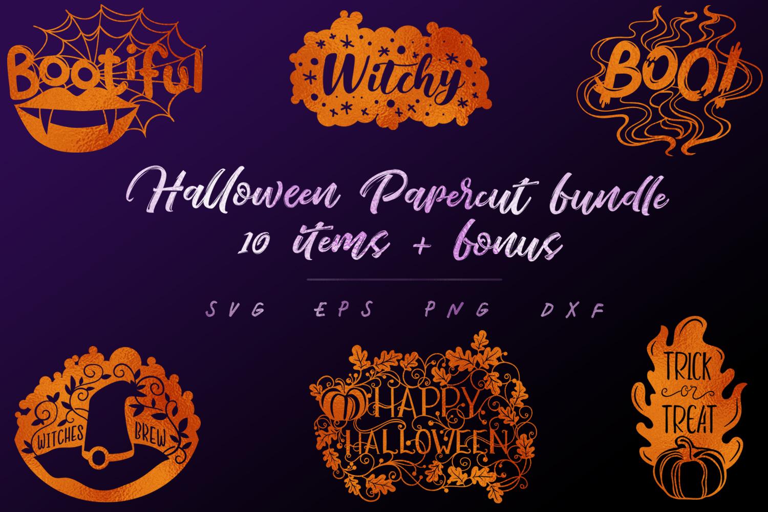 Download Free Halloween Papercut Bundle 10 Items Bonus Graphic By Tatiana for Cricut Explore, Silhouette and other cutting machines.